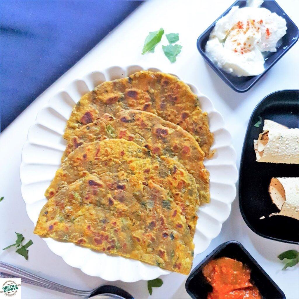 indian breakfast palak ka paratha